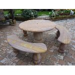 Rainbow Sandstone 1.2m dia Patio Set Table and 3 Benches- FREE UK DELIVERY - BEST SELLER