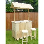 TimberTiki Bar and 2 stools -FREE DELIVERY MAINLAND UK