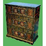 """Tashen"" - Black lacquer cabinet with stone decoration - Free Delivery MAINLAND UK"